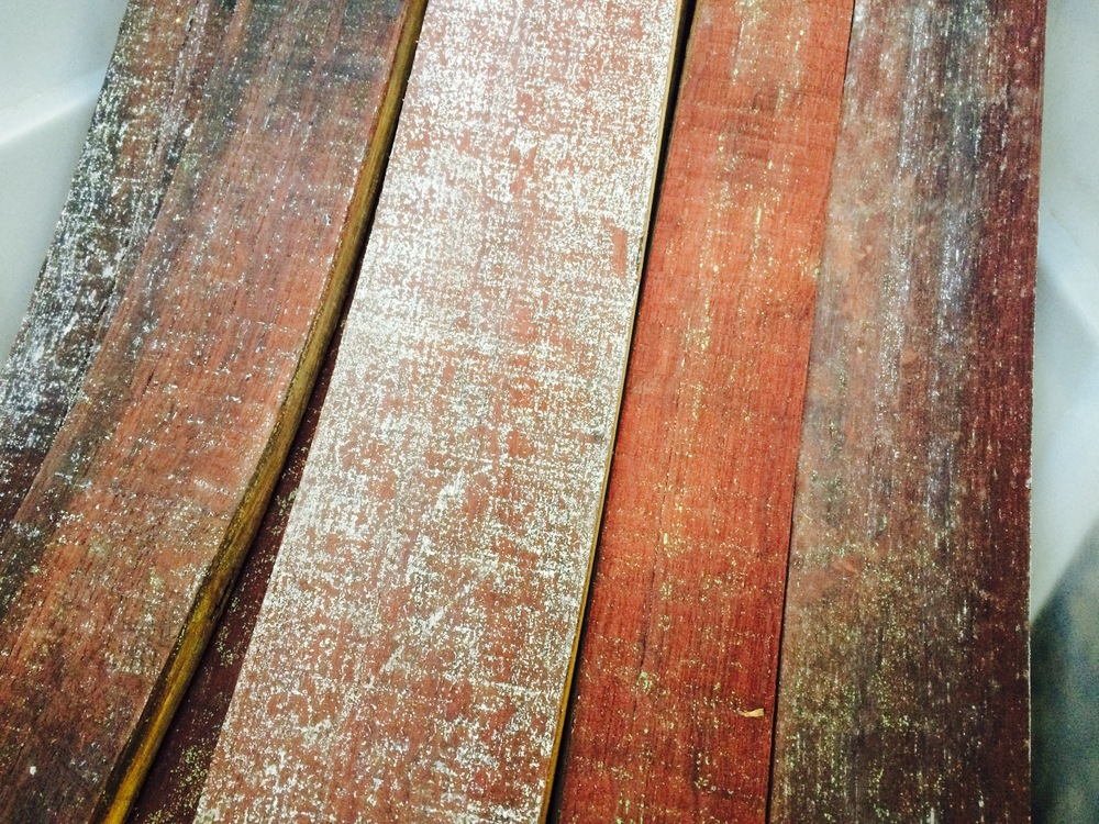 Raw staves ready for sanding, the colors are are amazing.