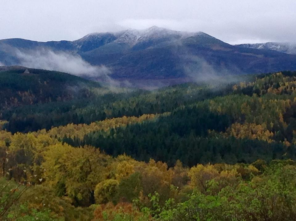 A misty Lochnagar in Autumn looking out from the Knock Gallery