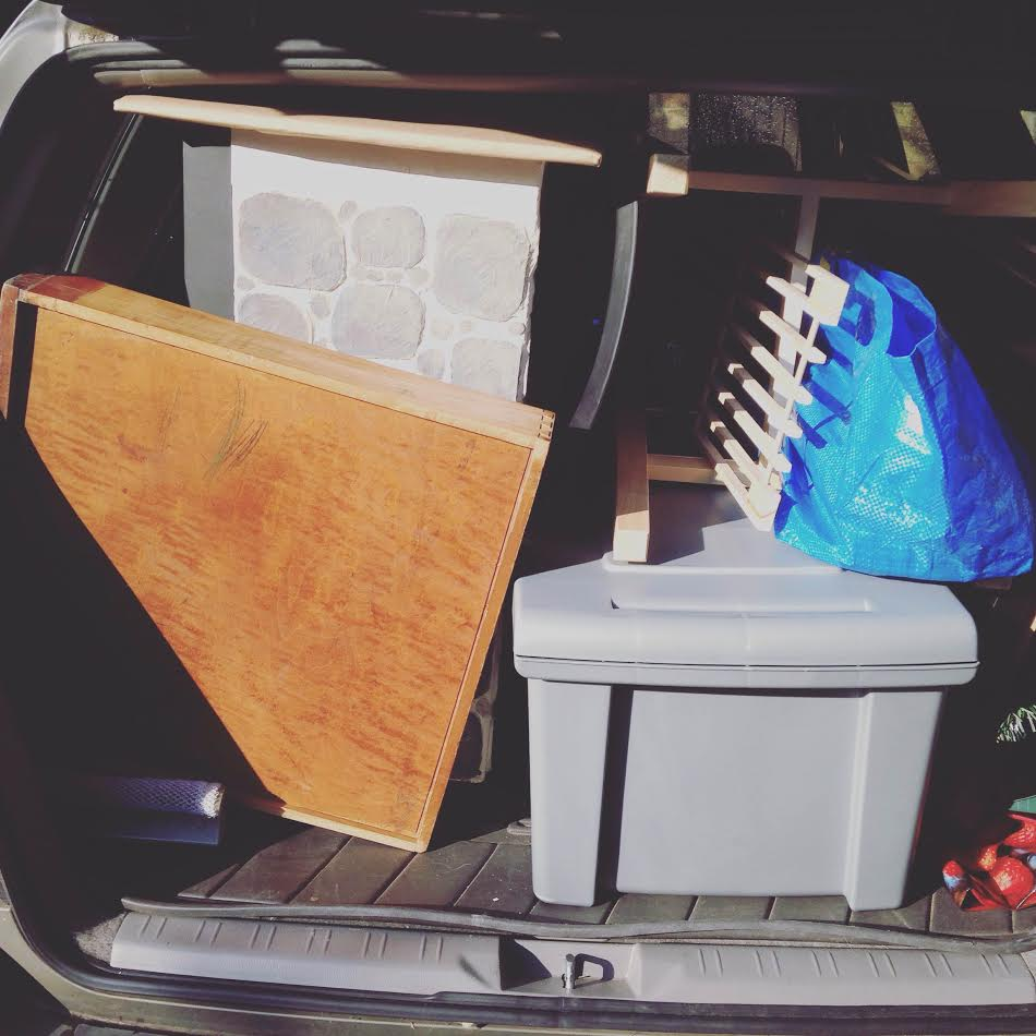 Packed up the car by myself! Took 3 times, but did it!
