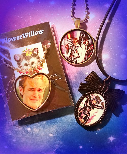 Dawson crying, Catwoman and Star Wars necklaces from FlowerWillow