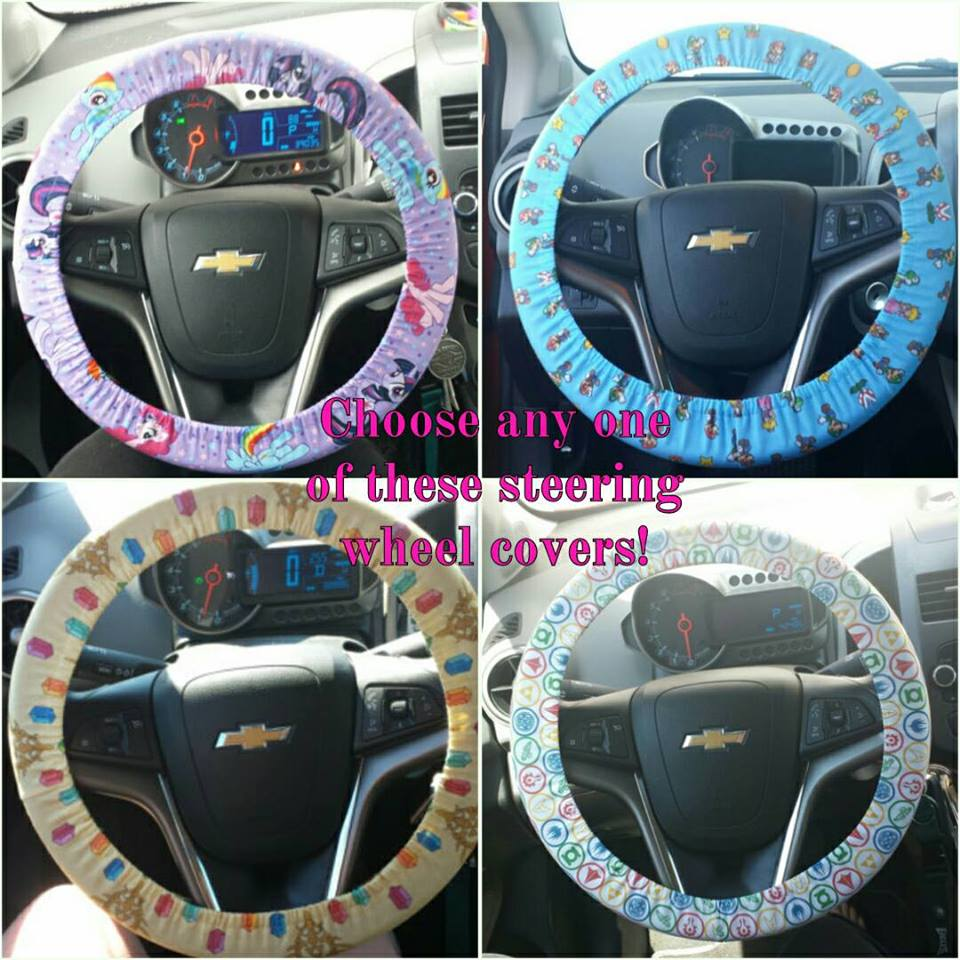 Choose any one of these steering wheel covers: My Little Pony, Mario Brothers, Zelda, or Super Geek! from Geek Thread