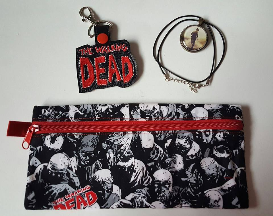 Walking Dead pencil case, embroidered keyfob and necklace from Geektastic Voyage
