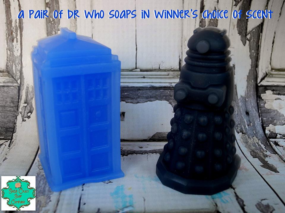 A pair of Dr Who soaps (1 Dalek and 1 Tardis) in winner's choice of scent from Shea Crazy Soap Company
