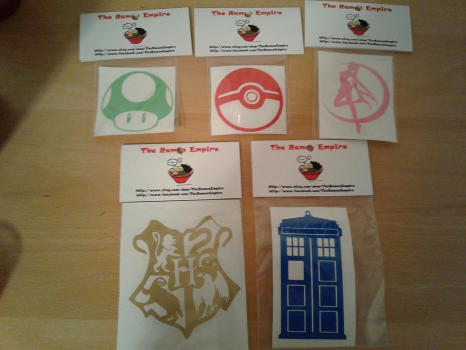 Decal grab bag! 5 random geek fandoms from The Ramen Empire.Winner can specify theme as well:Video game, anime, or fantasy & film