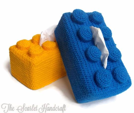 Lego inspired tissue box cover, in winner's color choice from The Scarlet Handcraft