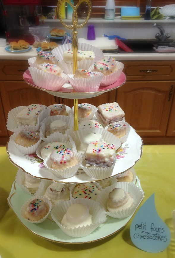 Petit fours on a cute tiered stand