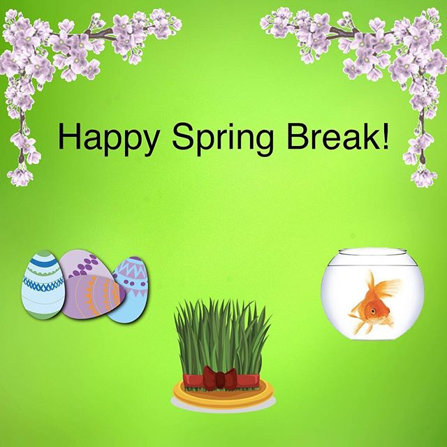 We wish a happy Spring Break to all our students! Though we won't be in school for Norooz, be sure to check out some of the Persian New Year activities in the DC area over break!  Saturday, March 16th 11AM - 5PM : Norooz Celebration at the Smithsonian's Freer Sackler Gallery Saturday, March 16th 11AM - 5PM: Norooz Market DC on Monroe Street