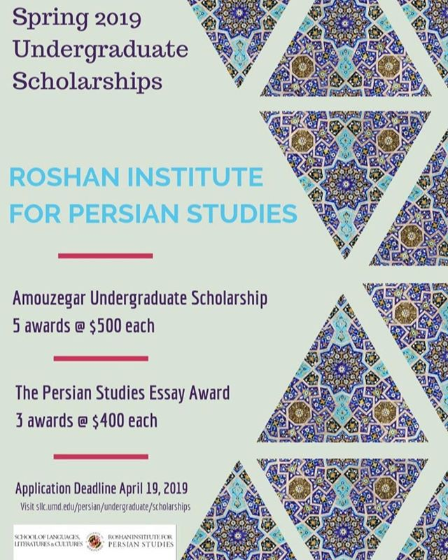 Persian students! Consider applying for the scholarships offered by the Roshan Institute for Persian Studies this spring. The deadline is April 19th, so start soon! For more information, visit: https://sllc.umd.edu/persian/undergraduate/scholarships%3B%20Roshan%20Institute #learnpersian #persianatmaryland #umd #pfp