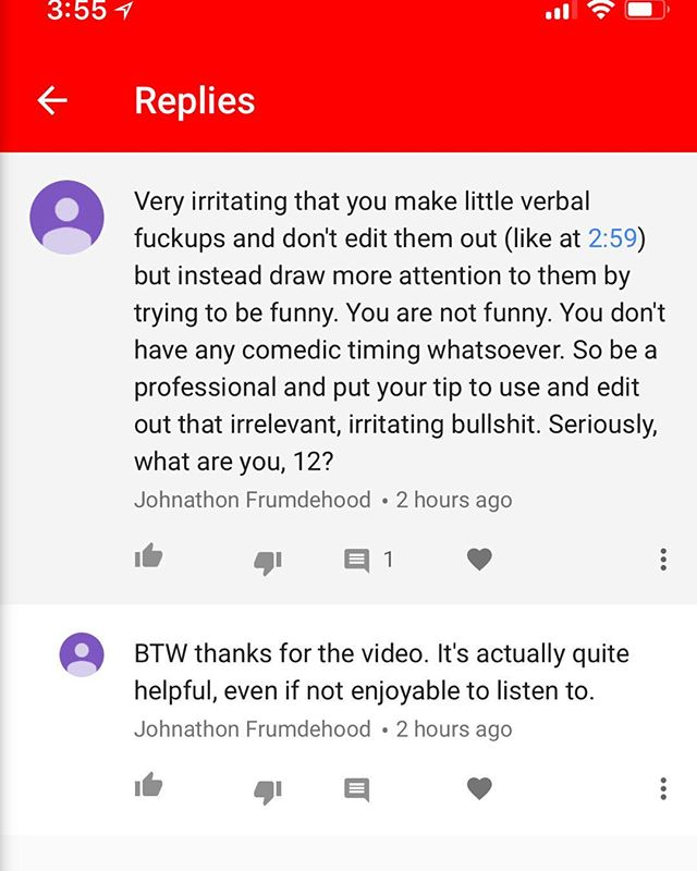 So I do #tutorials on #YouTube about #adobe #premierepro and occasionally #aftereffects to help out people. I don't make any money. I do it for free. Periodically I receive comments like this and it makes me sad because I am giving and being vulnerable in front on these people. And the irony is thick in this comment. I'm being told to be professional and edit out a little speech issue I had - Cursing and belittling someone online in comment about being professional doesn't imbue professionalism. It doesn't reflect professionalism from the commentator. Aggressive Passive compliment at the end. #smh