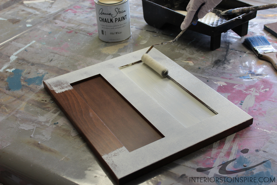 Roll a thin coat of paint on all of the flat surfaces