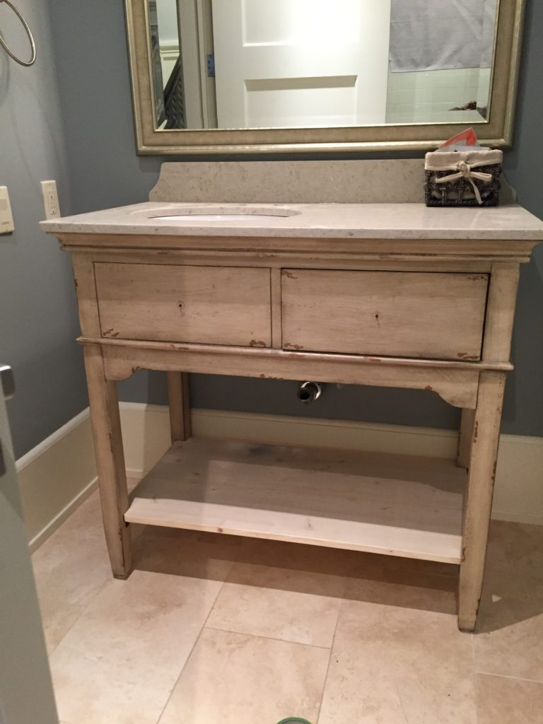 Before Photo of Bathroom Vanity before we Chalk Paint™ cabinets