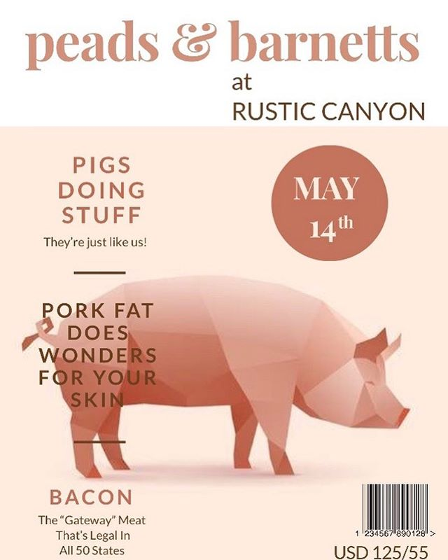 Very excited about this.  Get your tix asap, it's going to be a fantastic night with the pork wizard @andydoubrava and his wonder team @rusticcanyon @chefjeremyfox
