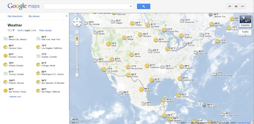 Google maps adds weather layer directly challenges wundermap launch google maps has added a weather layer powered by weather that displays current temperatures and conditions worldwide and shows a sun or moon to gumiabroncs Image collections