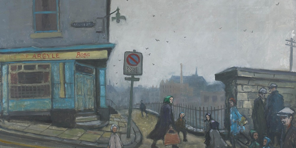 Norman Cornish, Argyle Street - Oil on board, 46 x 79cm