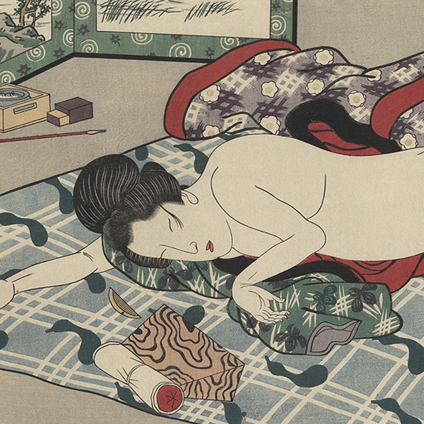 SQUARE Unnamed Edo-era artist, Beauty Sleeping, woodblock, 26 x 60.jpg