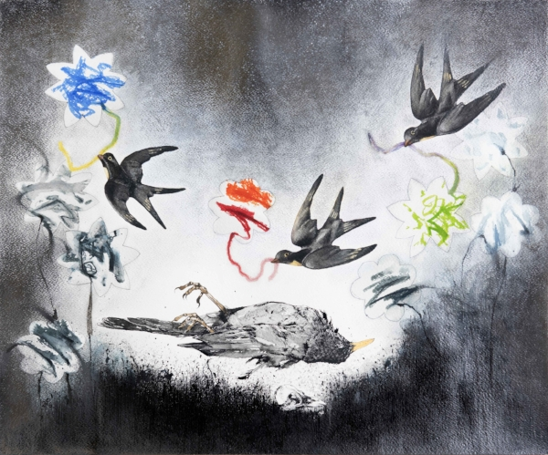 Charlotte Powell, Mortuus Merula 'Requiem', ink, watercolour and pencil on paper