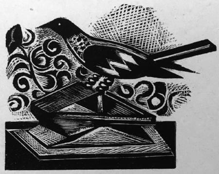 NASH, Paul - Bird, from 'Welchman's Hose', 1925, Wood engraving, 5 x 5cm.jpg