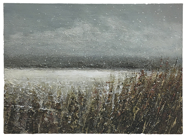 COMPRESSED 600px - Paul Gallagher, Winter Field, Snowing, Mixed media on board, 15 x 20cm.jpg