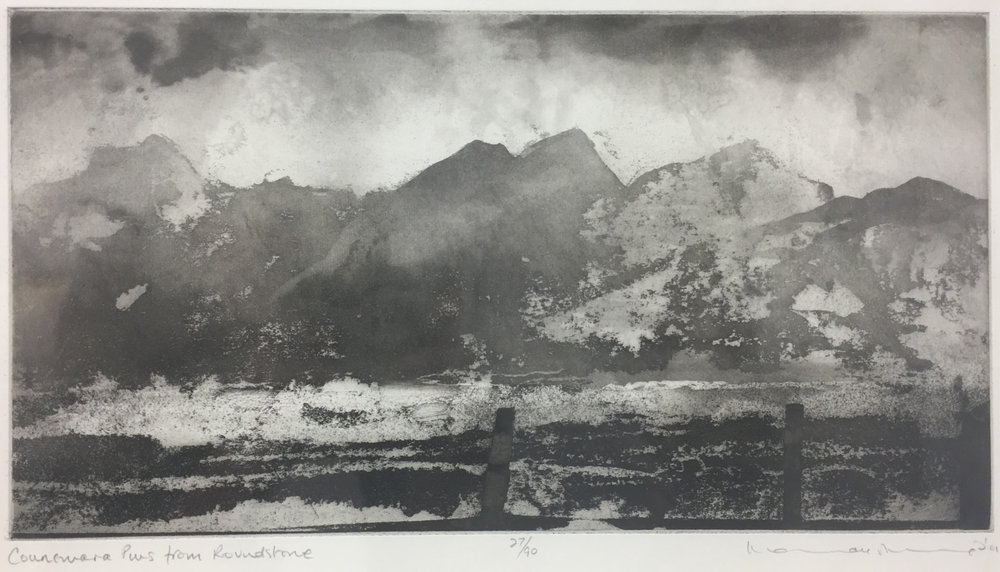 Connemara Pins from Roundstone Bay  Etching with aquatint 20 x 41.5cm