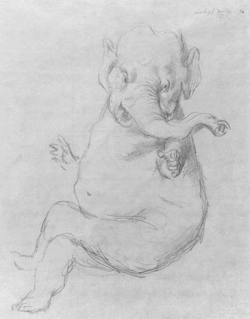 Anthropomorphised Elephant  Pencil on paper 21.3 x 16.5cm