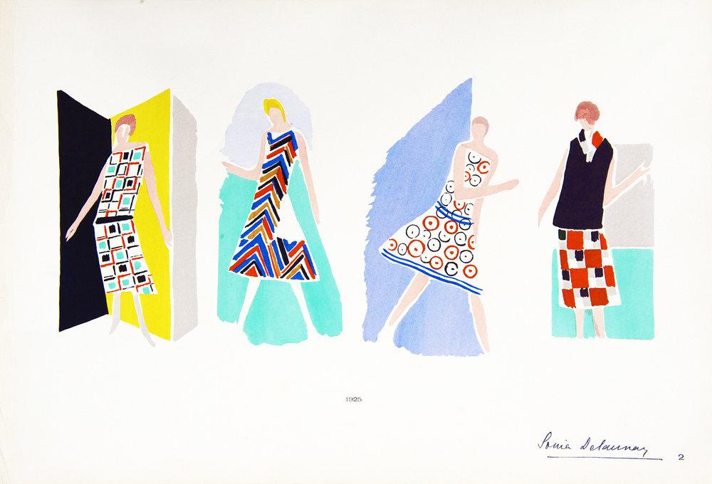 Untitled, Ses Peintures, Ses Objets, Ses Tissus Simultanés, Ses Modes Suite  Hand-coloured pochoir, 1925 18.5 x 46cm