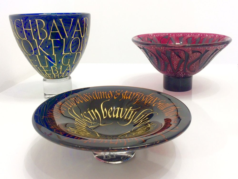 Footed bowl ,'Bavarian Giants', DH Lawrence (left)  Overlay bowl , 'The coming musk-rose', Keats (right)  Overlay dish , 'She walks in beauty like the night', Byron (centre)