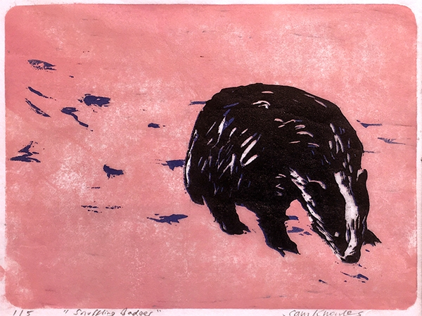 Snuffling Badger  Reduction linocut Variable edition of 5 16 x 21cm