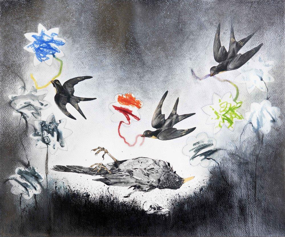 Mortuus Merula 'Requiem'  Ink, watercolour and pencil on paper