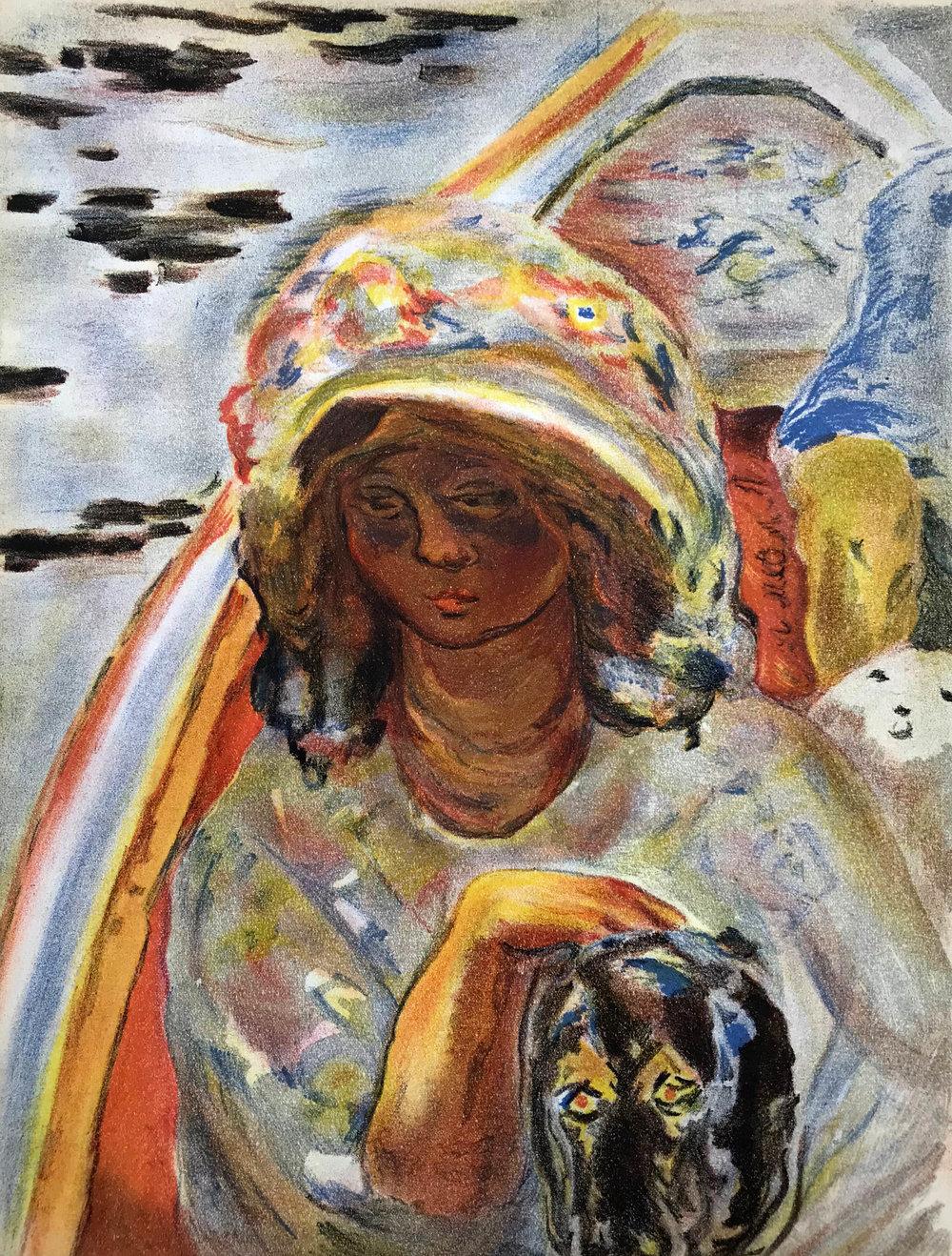 Jeune Fille - Dans un Barque  Lithograph 35.2 x 26cm