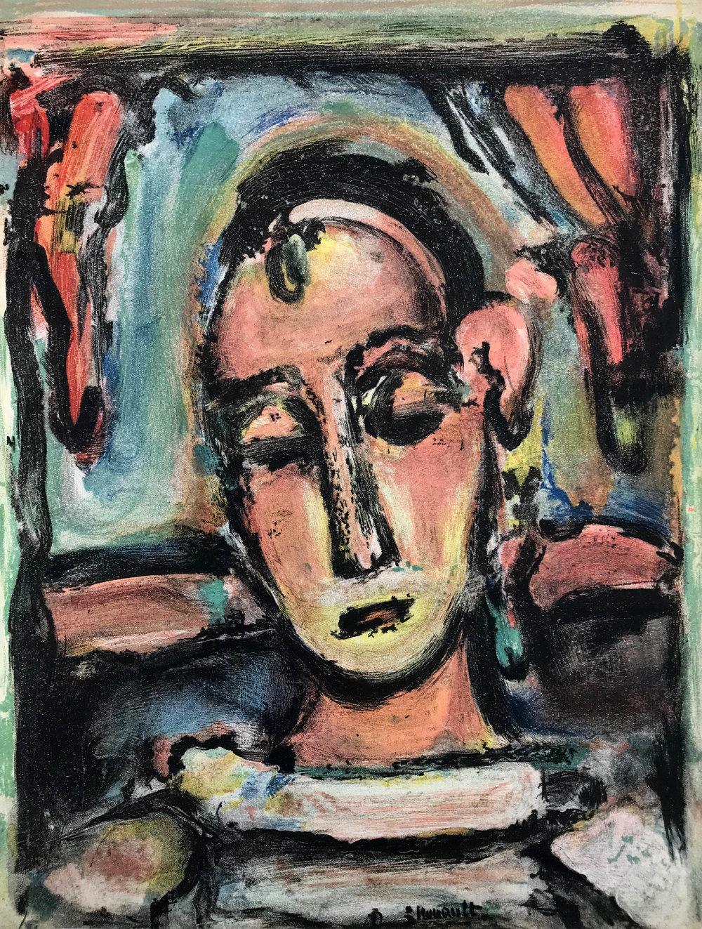 Tête de Jeune Fille , 1939 Lithograph Signed in plate 35.2 x 26cm (image)
