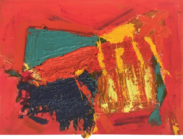 Flame Rave II  Mixed media on card 15 x 21cm