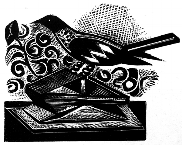 Bird  Wood engraving 4 x 5cm