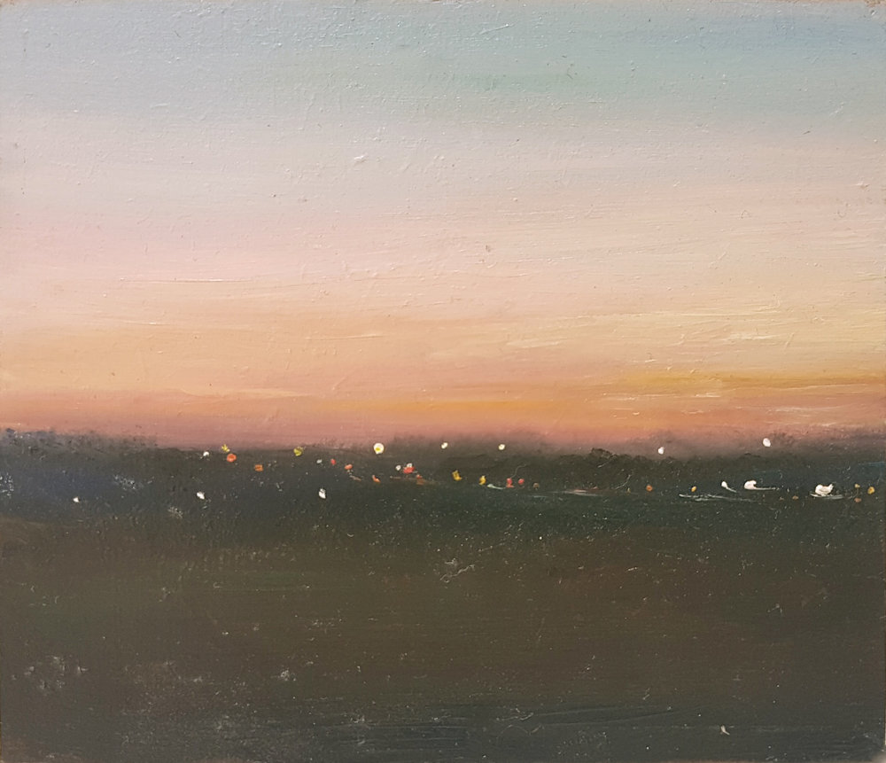 Town Moor, Rush Hour  Oil on panel 10.5 x 9cm (image)