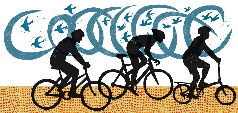 Jeb Loy Nichols , Cyclists (from The Bike Book), Linocut