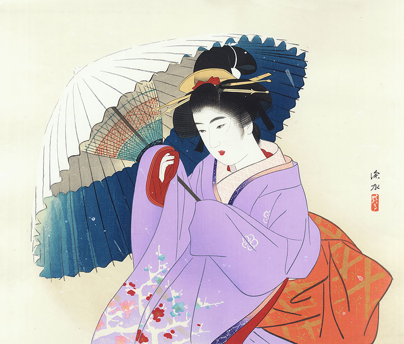 Ito Shinsui (1898 - 1972)  Snowstorm Woodblock, Framed 38.1 x 44.6cm (image)  Was £820, now just  £695