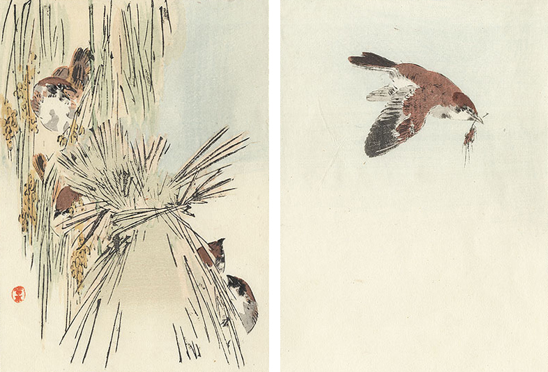 Watanabe Seitei (1851 - 1918)  Birds Building a Nest From the 'Album of Birds and Flowers', 1890-91 Woodblock 19.1 x 29.5cm (image, both panels)  Was £200, now just  £150
