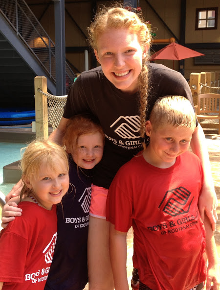 Marissa Leupold with three Club Members during a Summer Program.