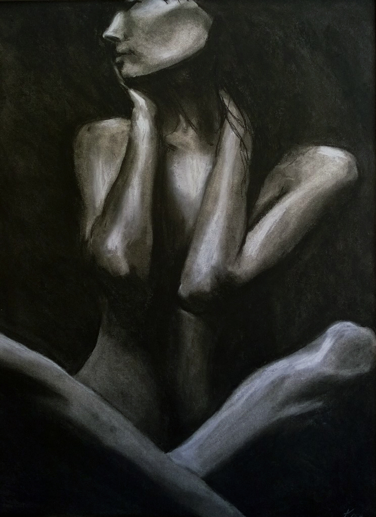 """Herself""  Charcoal on paper"