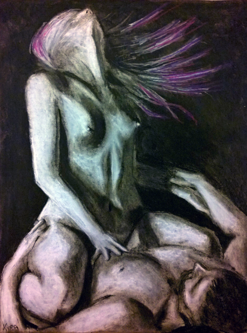 """The Dance of the Divine"" Charcoal on paper"