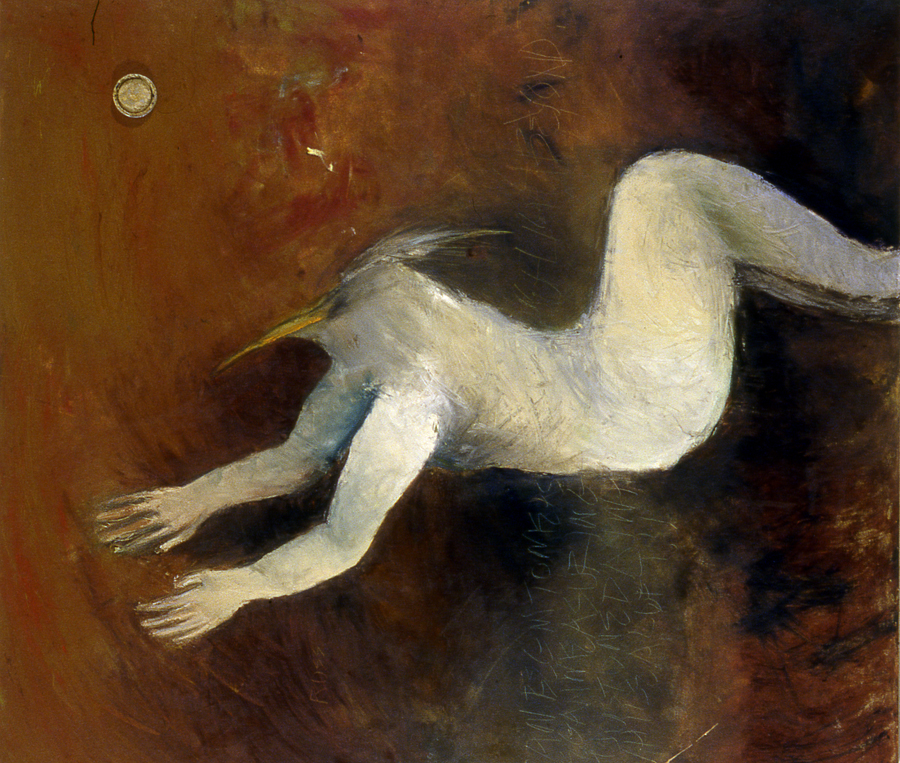 9. BEGUN AS THE FLIGHT BEYOND. oil on canvas. 48x54.   1999.jpg