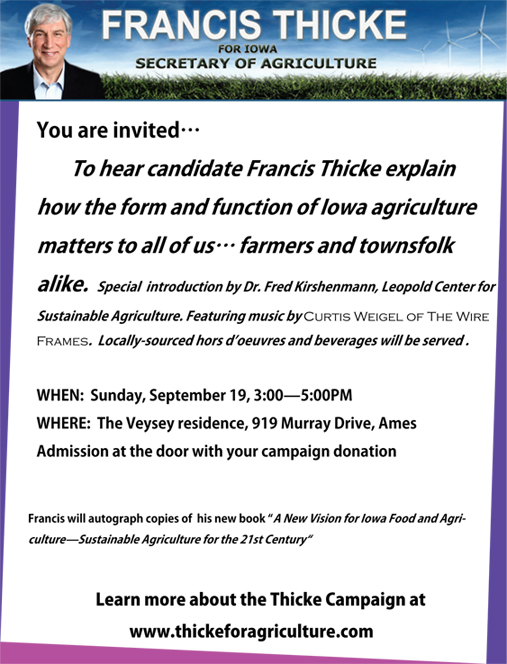 Francis Thicke Fundraiser Flyer