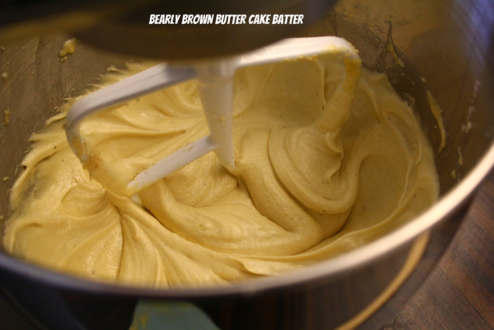 brown butter cake batter, step 1 done...
