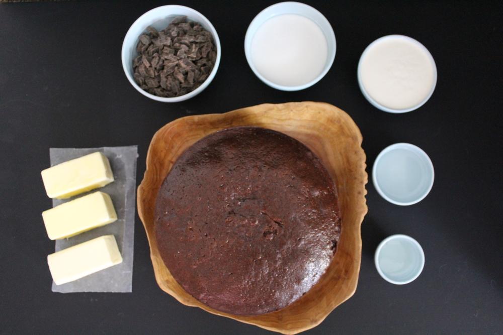 salted dark chocolate caramel and pretzel cake