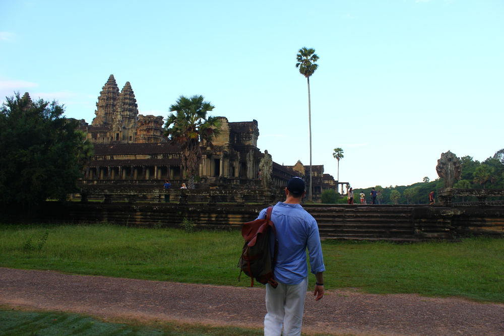 orox leather drawstring rucksack// american made// traveled worldwide  angkor wat, siem reap, cambodia