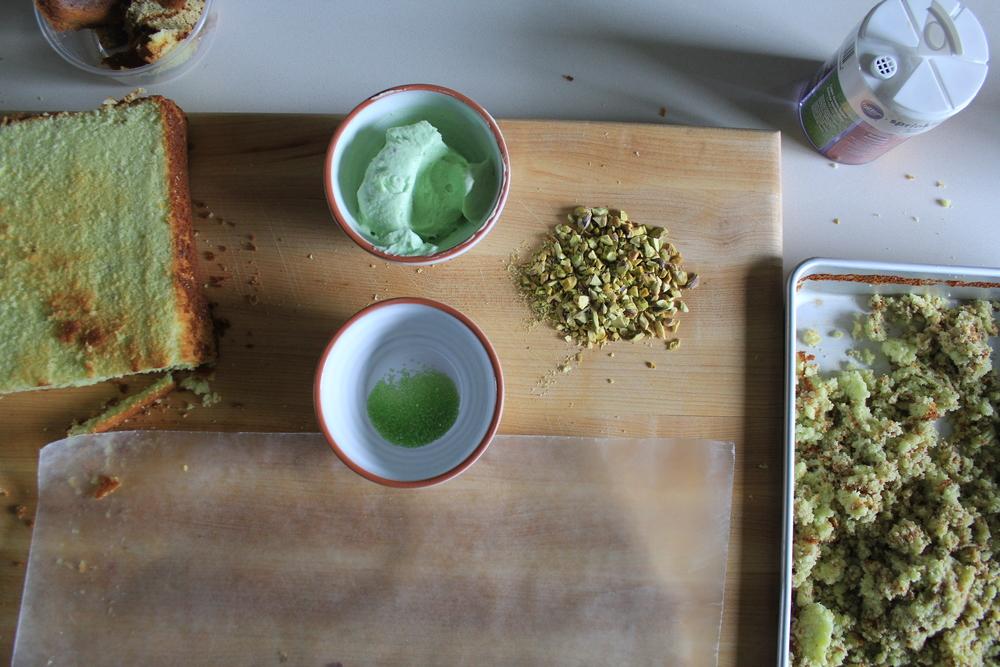 pistachio cake balls and cake!