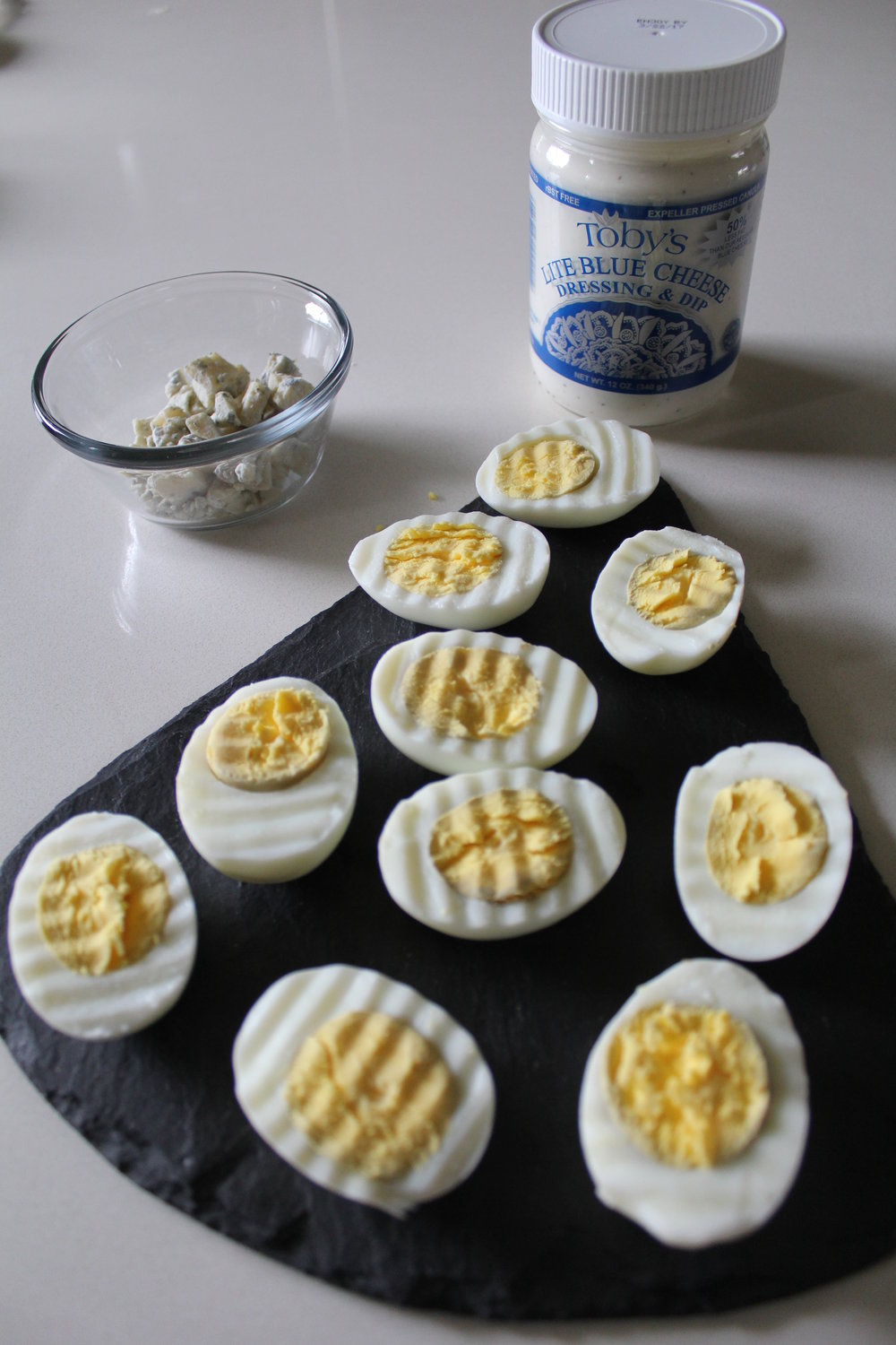 BLUE CHEESE BUFFALO DEVILED EGGS USING TOBY'S DRESSING
