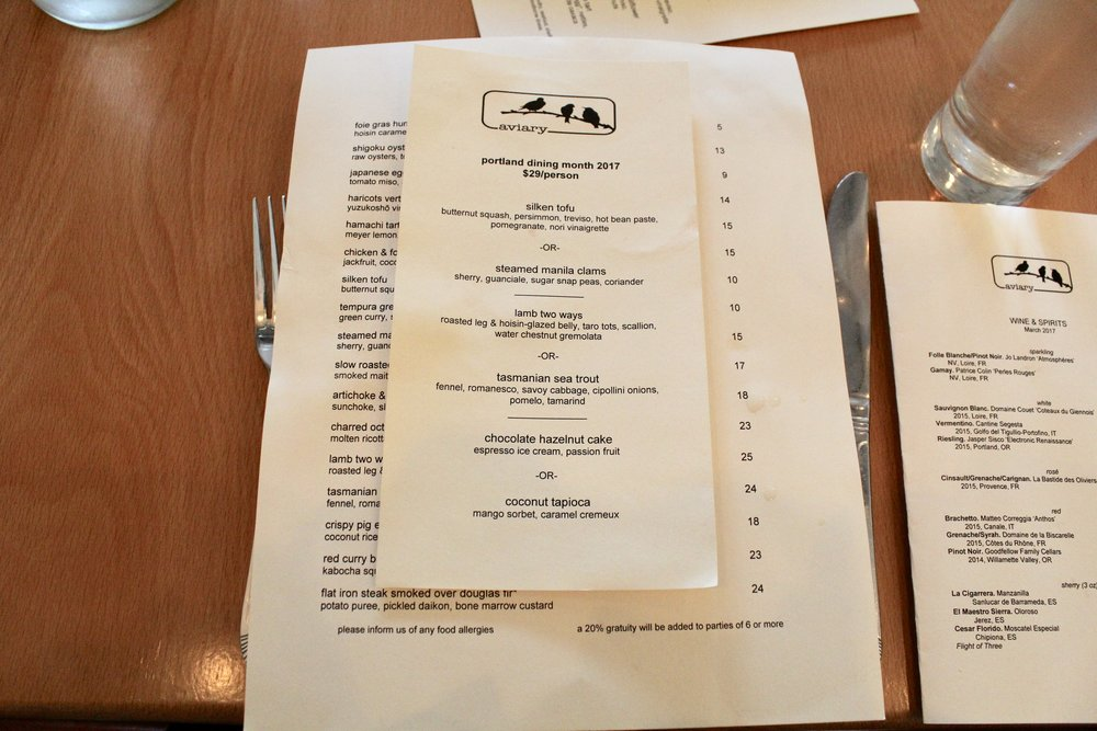 aviary portland dining month menu 2017