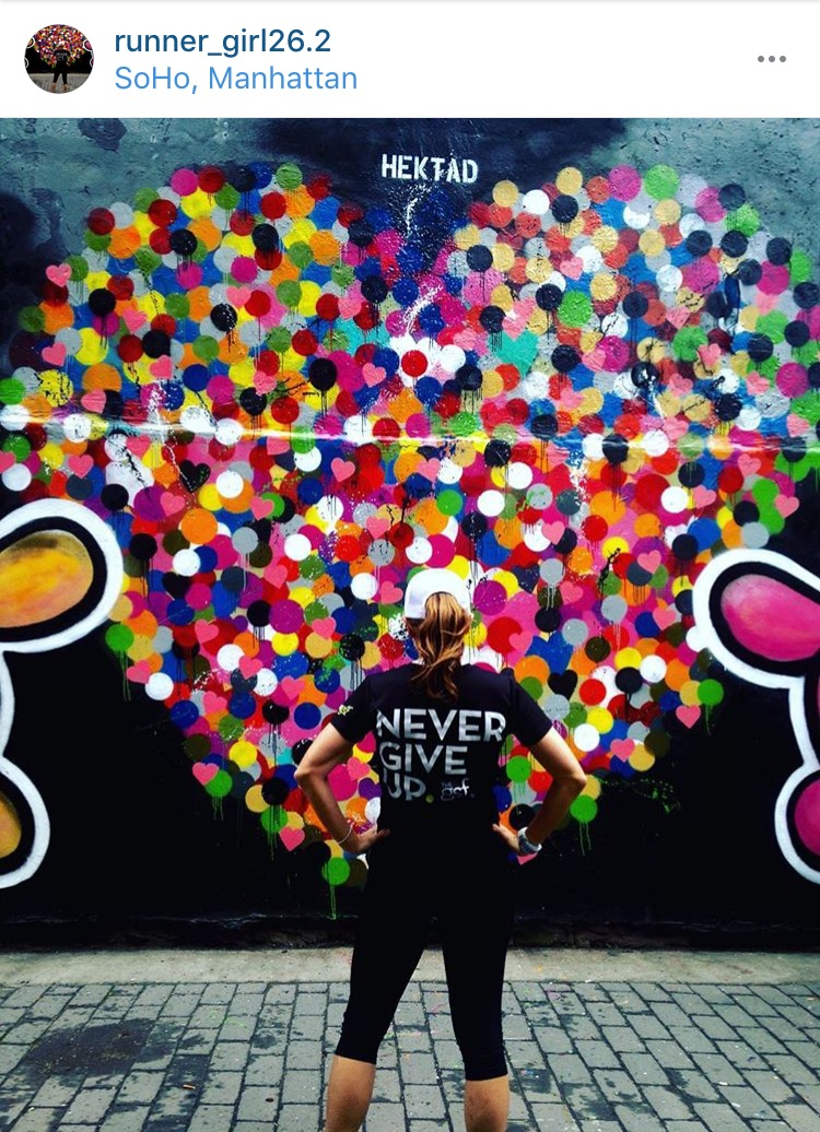 Congrats to Lundy -  @runner_girl26.2,  on tying for first place in the #SohoArtRun contest. Mural by  Hektad .