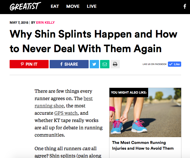 Runstreet coach Marnie offers shin splints tips in Greatist.