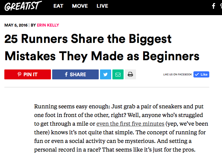 Runstreet coach Marnie shares tips for beginning runners in Greatist.